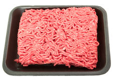 A tray of fresh lean ground beef stock photography