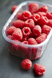 Raw fresh raspberries. Tray of fresh, raw  raspberries royalty free stock photography
