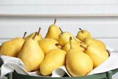 Tray with fresh ripe pears stock image