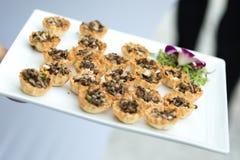 Tray of freshly baked tarts Stock Images
