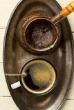 Tray of freshly made coffee (top view) Royalty Free Stock Photography