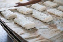 Tray of Freshly Prepped Ciabatta Rolls Buns Royalty Free Stock Photos