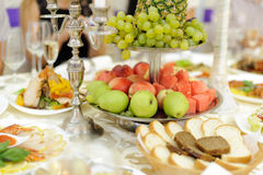Tray with Fruits. Silver tray with fruits at restaurant Royalty Free Stock Image