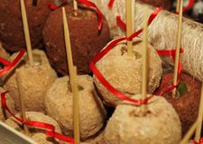 Tray full of caramel and candied apples. Royalty Free Stock Photo