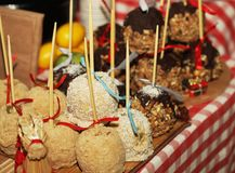 Tray full of caramel and candied apples. Royalty Free Stock Image