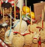 Tray full of caramel and candied apples. Royalty Free Stock Photography
