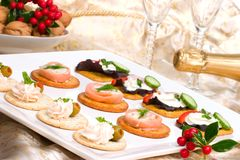 Tray full of fresh canapes Royalty Free Stock Image