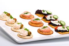 Tray full of fresh canapes Royalty Free Stock Photography