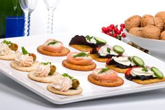 Tray full of fresh canapes Stock Photography