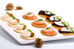Tray full of fresh canapes Stock Images