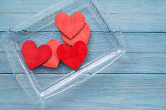 Tray with hearts Stock Image
