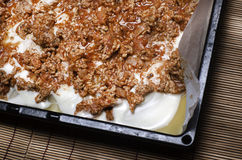 Tray of homemade lasagna ready to be cooked. Stock Photos