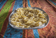 Tray with homemade pasta Royalty Free Stock Images