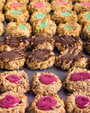 Tray of homemade thumbprint cookies Royalty Free Stock Images