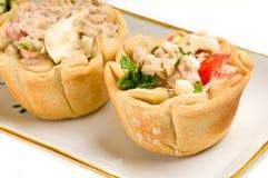 Tray of homemade tuna quiche. Stock Photos