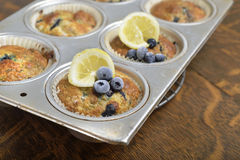 Tray of lemon blueberry muffins. Royalty Free Stock Photo