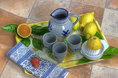 Tray with lemon juice. Tray with lemons, oranges, apple and a jug and mugs Royalty Free Stock Images