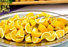 Tray with lemons Royalty Free Stock Images