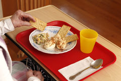 Tray with lunch and old person hands Royalty Free Stock Photo