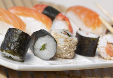 Tray of makis and sushis Stock Image