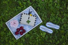 Dreaming about the beach. A tray with maritime design with cherries, roses and a notebook stock photo