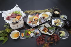 Tray meal of Japanese style with rice, sushi and soy sauces Stock Photos