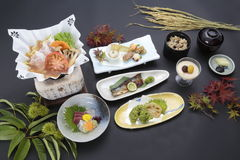 Tray meal of Japanese style with rice, sushi and soy sauces Stock Photography