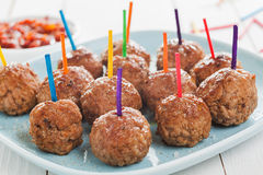 Tray of meatballs for appetizers Royalty Free Stock Photo