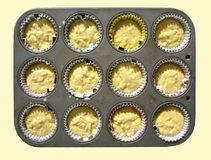 Tray with Milk Muffin Mass Royalty Free Stock Image