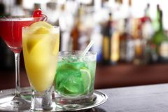 Tray of mixed drinks royalty free stock images