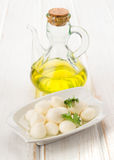 Tray mozzarella cheese balls in oil Stock Photo