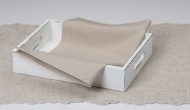Tray With Natural Linen Napkin And Table Cloth.  Stock Photo