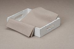 Tray With Natural Linen Napkin And Table Cloth Stock Photos