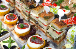 Tray Of Assorted Canapes Royalty Free Stock Image