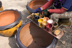 Tray of oil colors, use to fix damage of flower pots Stock Photos