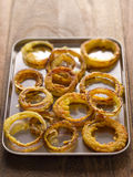 Tray of onion rings Royalty Free Stock Photos