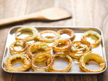 Tray of onion rings Royalty Free Stock Images