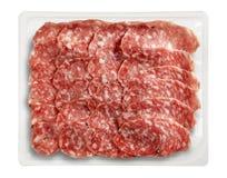 Tray Packaged av Presliced Salame Parma Fotografering för Bildbyråer
