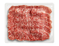 Tray Packaged de Presliced Salame Parma Image stock