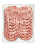 Tray Packaged Of Pork Cooked Salami Stock Photography