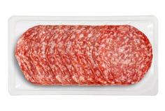 Tray Packaged pequeno de Presliced Salame Imagem de Stock