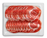 Tray Packaged of Presliced air cured pork meat coppa Royalty Free Stock Photography