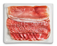 Tray Packaged of Presliced Ham Salami coppa Stock Image