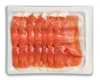 Tray Packaged of Presliced Ham  Stock Images