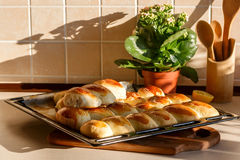 Tray of pies in the kitchen. Tray of pastries stuffed  in the kitchen Stock Image