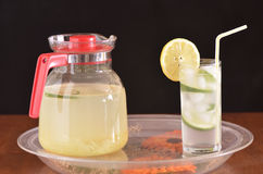 A tray with a pitcher and a glass Royalty Free Stock Photo