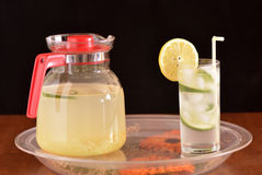 A tray with a pitcher and a glass Royalty Free Stock Images