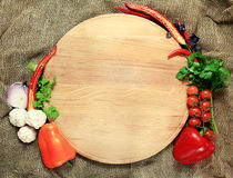 Tray for pizza with vegetables Royalty Free Stock Images