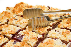 Tray of plumb crumble squares Royalty Free Stock Photos