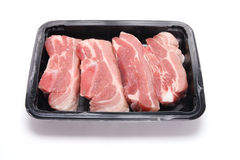 Tray of Pork Pieces Royalty Free Stock Photos
